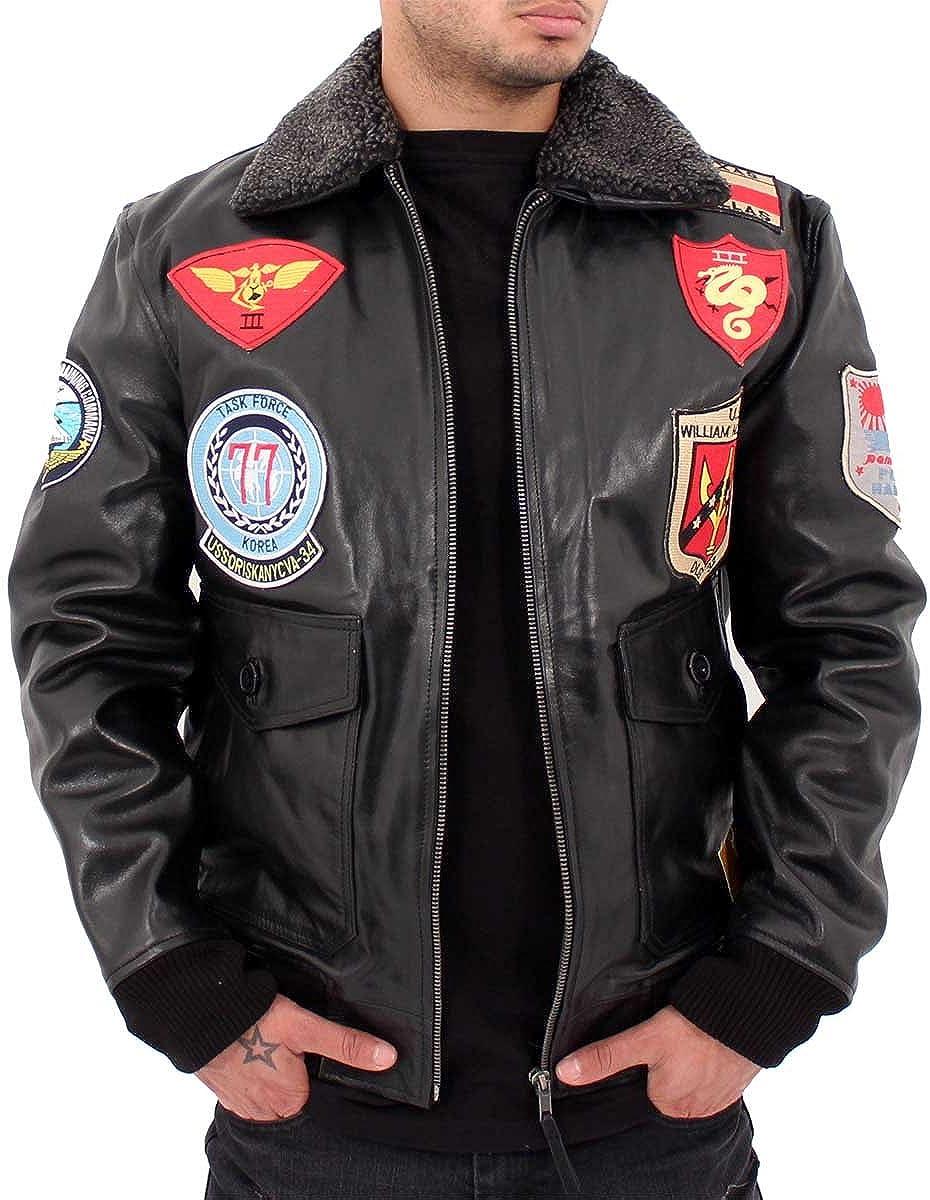Aviatrix Mens US Pilot Flying Black Leather Jacket Bomber Air Force Wills