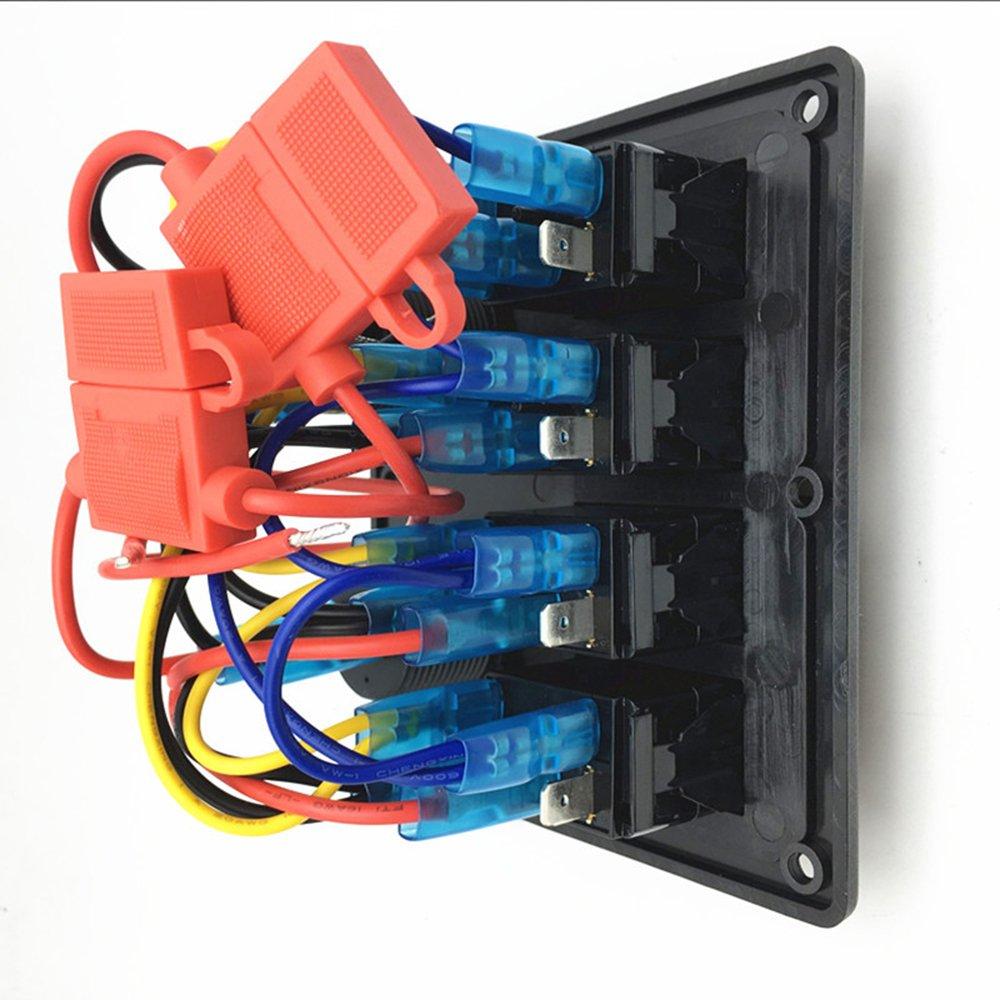 RV LKW Wohnwagen Boot Meipire Wasserdicht Boot Auto Switch Panel 4 Gang mit USB steckdose und voltmeter Ladeger/ät Adapter f/ür Auto
