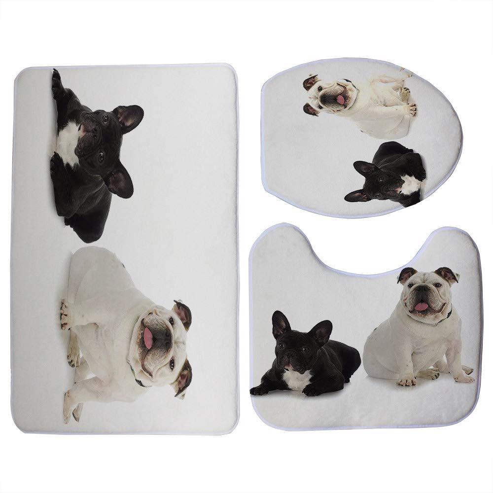 Cute Black French Bulldog Print 3Pcs/Set Toilet Seat Cover Bathroom Indoor Non-Slip Coral Fleece Floor Mat Bath Decor 4 by DIAGE