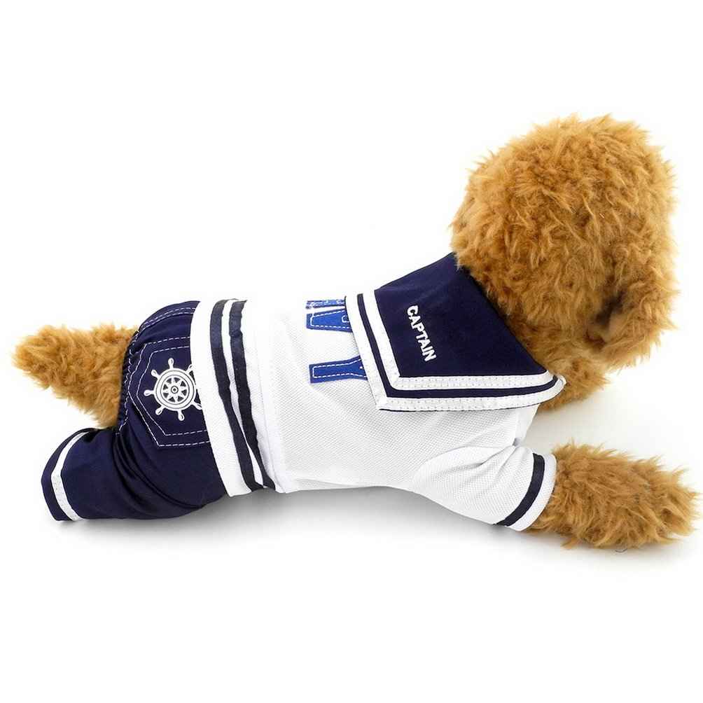 SELMAI Small Boy Dog Jumpsuit Pet Outfits Navy Captain Sailor Costume Puppy Clothes Dog Tee Shirts with Pants S