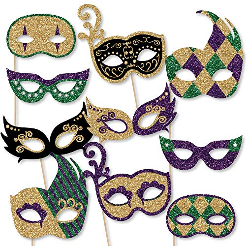 Big Dot of Happiness Mardi Gras Masks & Glasses - Paper Card Stock Masquerade Party Photo Booth Props Kit - 10 Count -