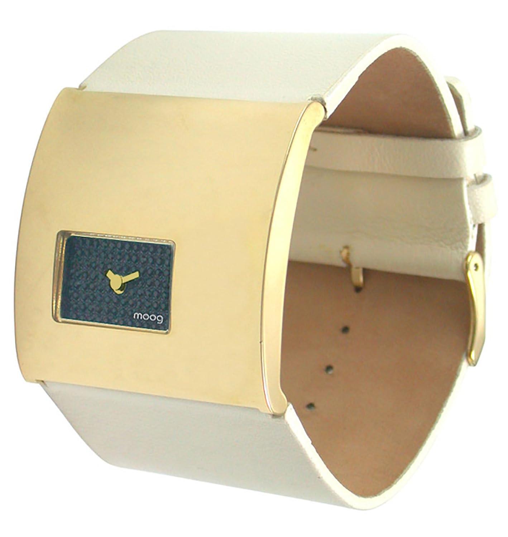 Moog Paris - Geometric - Damen Armbanduhr gold aus Edelstahl - Armband Gelb aus Echt-Leder - in Frankreich hergestellt -