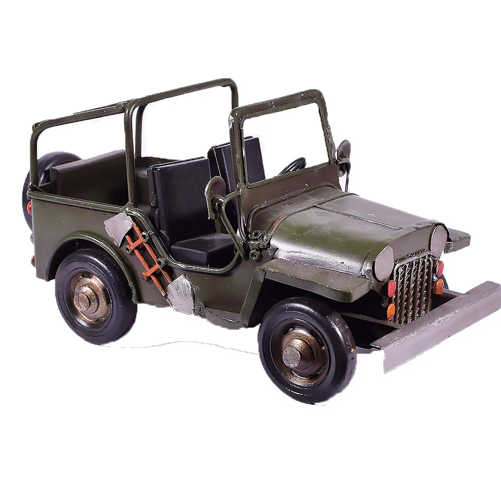 EliteTreasures Military Jeep Collectible Ornament & Pen Holder - Retro Pencil Case Army Figurine - Industrial Decor - Office Desk Decoration by EliteTreasures