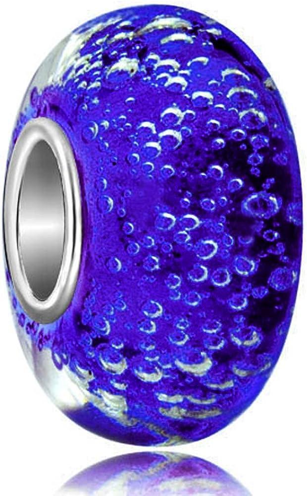 Uniqueen 925 Silver Water Bubbles Murano Lampwork Glass Beads Charm fit Bracelet