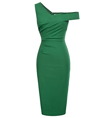 Reedbler Party Dresses Summer New Vintage One Shoulder Pencil Dress Black Green Bodycon Midi Evening Formal