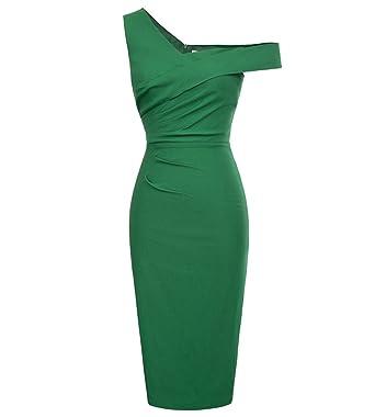 Reedbler Party Dresses Summer New Vintage One Shoulder Pencil Dress Black Green Bodycon Midi Evening Formal