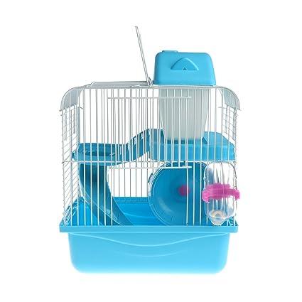 Dabixx Casa de Madera de hámster Mouse House con Disco de Diapositivas Spinning Botella de Agua