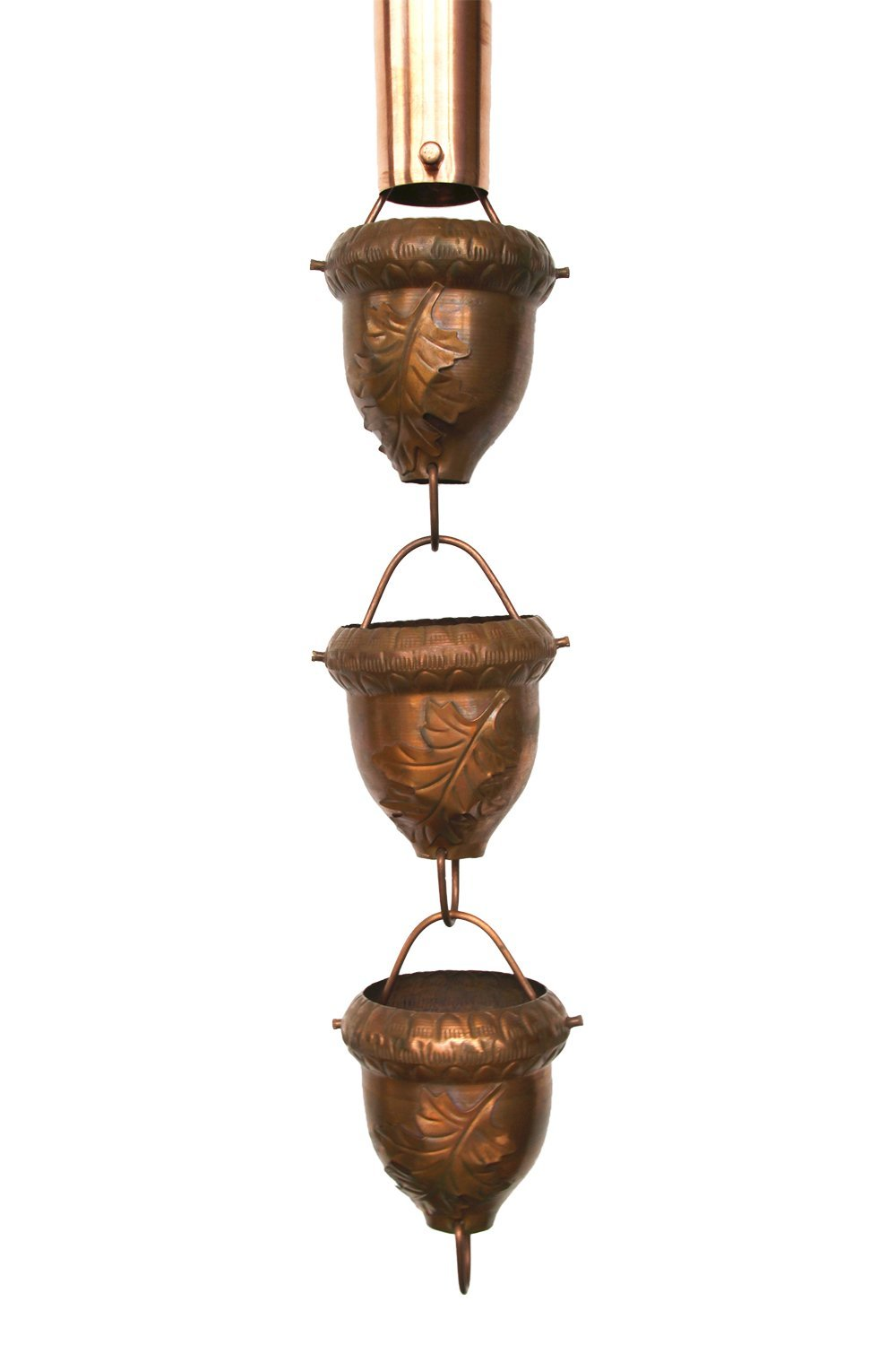 Autumn Oak Copper Rain Chain with Installation Kit (16 Foot) by Nutshell Stores