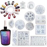 Crystal Clear UV Epoxy Hars Set met 12 Siliconen Mallen & 13 Effen Kleuren Vloeibare Pigment Kleurstoffen voor Sieraden…