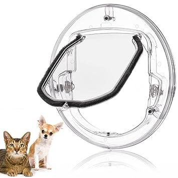 Fdit gato Tapa Tapa pequeñas mascotas perros gatos para puerta con 4 posibilidades Cerrar redondas transparente o blanco gato Tapa con puerta Liner Kit ...