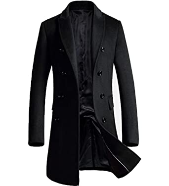 62df6ff1a1e S S Men s Cashmere Topcoat Stylish Slim Fit Classic Knee Length Trench Coat