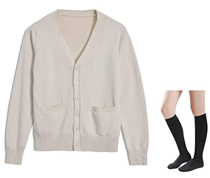 5246c4467c3 Long Sleeve deep V-Neck Knitted Button up Cardigan Sweater Anime Japanese  School Girl Uniform with Socks Set