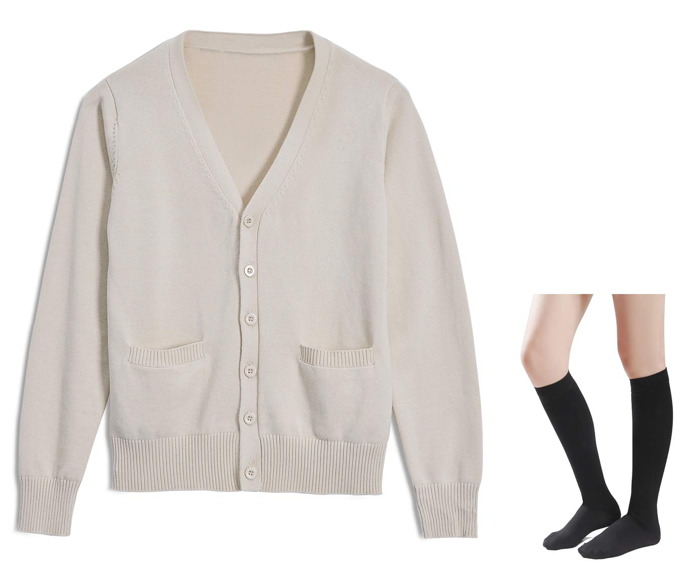 Long Sleeve deep V-Neck Knitted Button up Cardigan Sweater Anime Japanese School Girl Uniform with Socks Set(Light Apricot XL)
