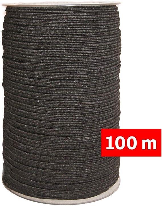 Goma elástica costura Negra 100m, 4mm de ancho, cordón para ...