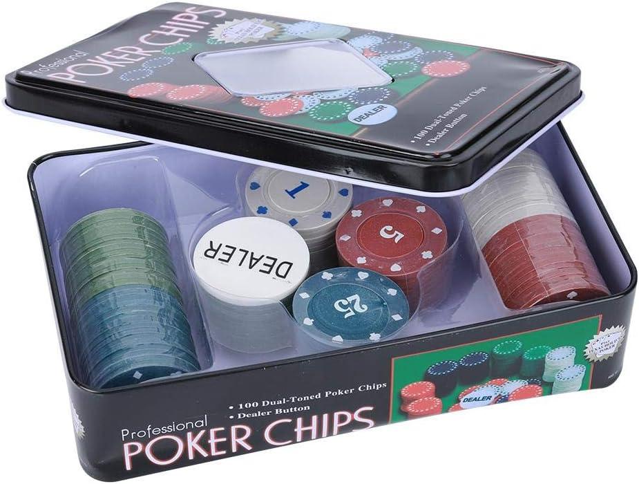 Ever Fichas de póker, 100PCS Tarjetas de fichas de póker con Chip de Distribuidor Estuche portátil para niños Adultos: Amazon.es: Deportes y aire libre