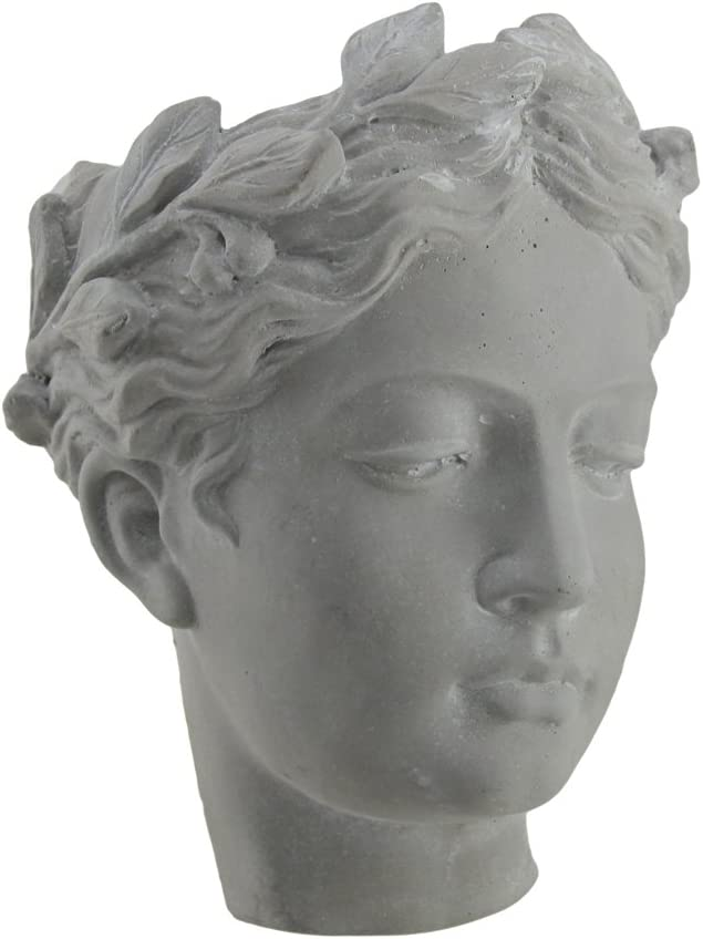 Classic Greek Lady Indoor Outdoor Wall Mounted Cement Head Planter