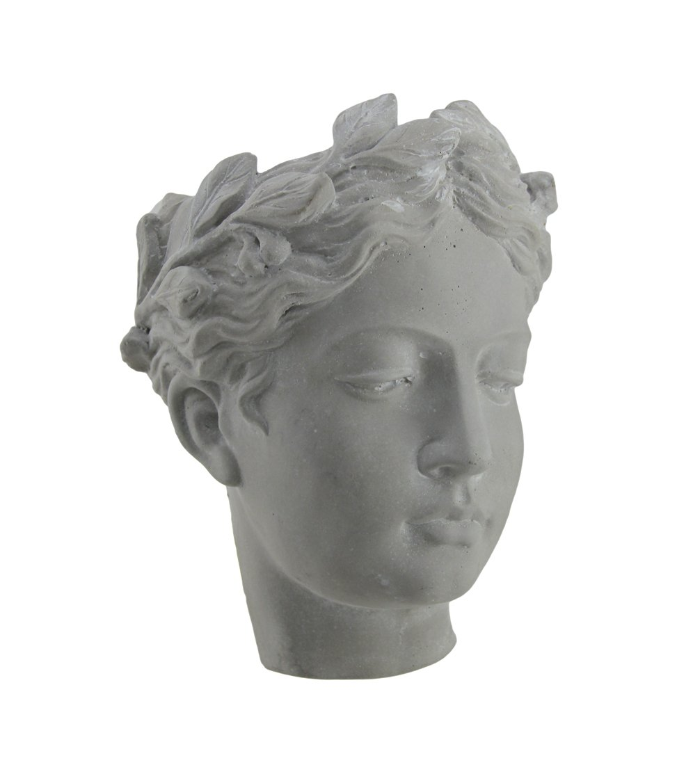 Cement Planters Classic Greek Lady Indoor/Outdoor Wall Mounted Cement Head Planter 7 X 7.5 X 5 Inches Gray