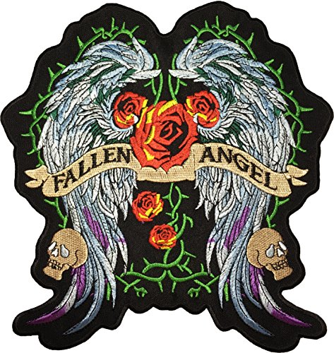 Diy Fallen Angel Costume ([Large Size] Papapatch Fallen Angel Wings Red Rose Skull Biker Rider Motorcycle Jacket Vest Costume Embroidered Sewing Iron on Patch (IRON-FALLEN-ANGEL-WINGS-LARGE))