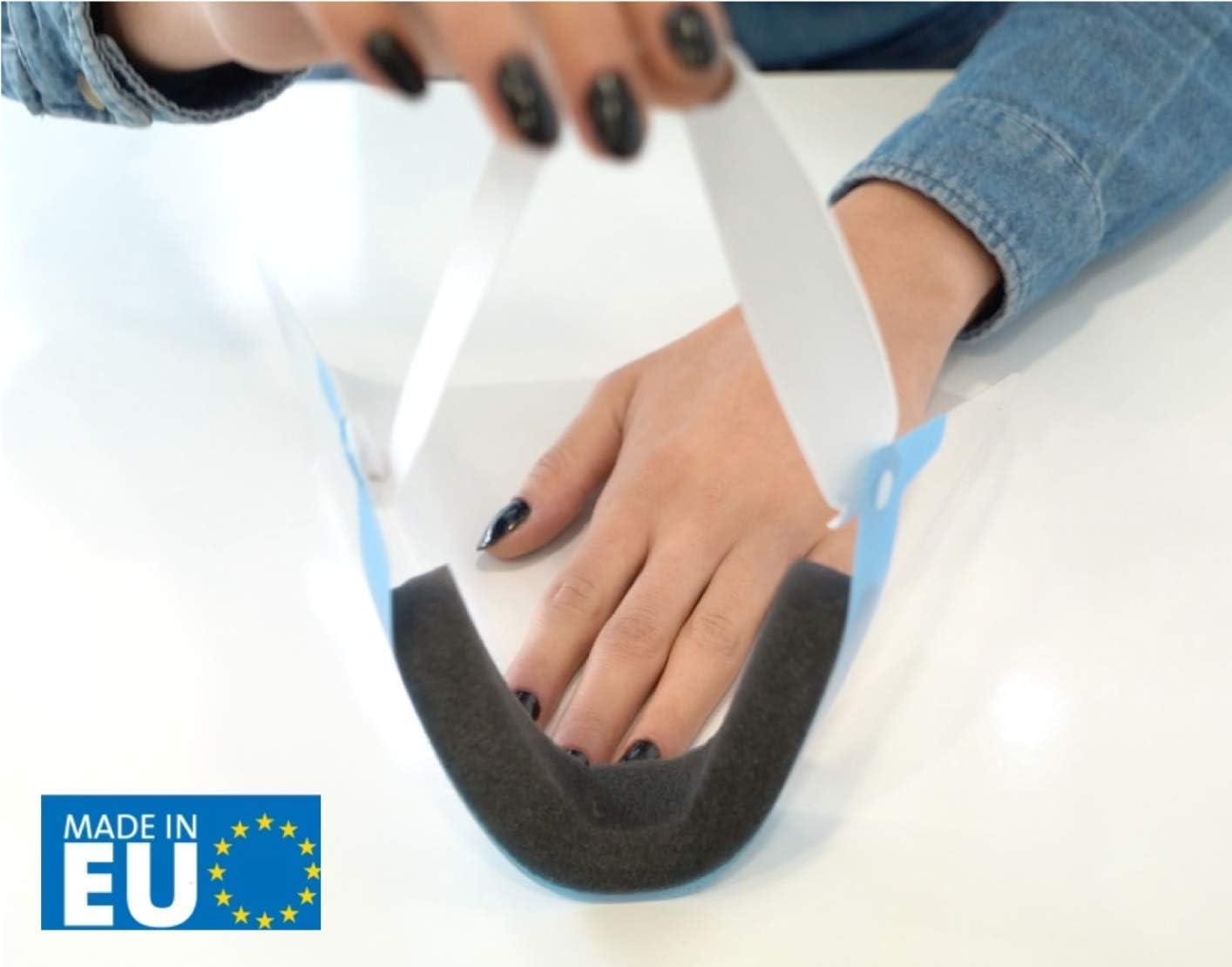 fabricado en Europa Cara protectora transparente con banda de goma ajustable para hombres y mujeres Protector facial Fredo visera de pl/ástico
