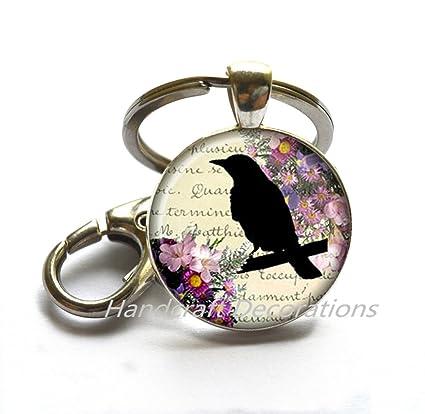 Negro Cuervo llavero negro corona llavero llavero de cúpula ...