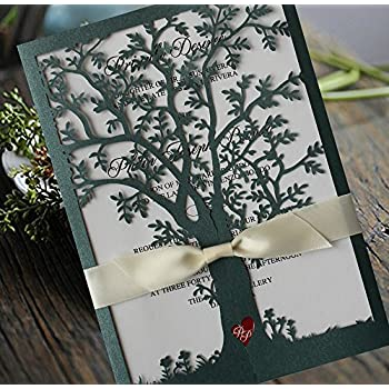 Amazoncom Green Color Tree Wedding Invitations White Ribbon