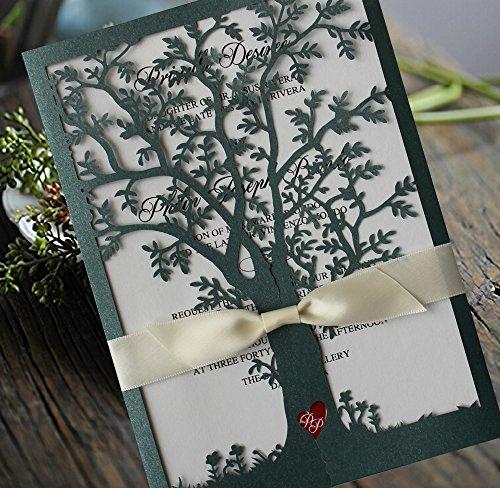 Green Color Tree Wedding Invitations, White Ribbon Invitation Cards, Laser Cut Tree Wedding Invitations - Set of (Tree Wedding Invitations)