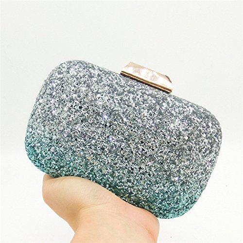 Party Crossbody Ladies Evening Fashion Dinner Color Banquet Handbag Gradient Clutch Bag Bag Dress Bag Sequin Chain Silver Bag nzZpxz