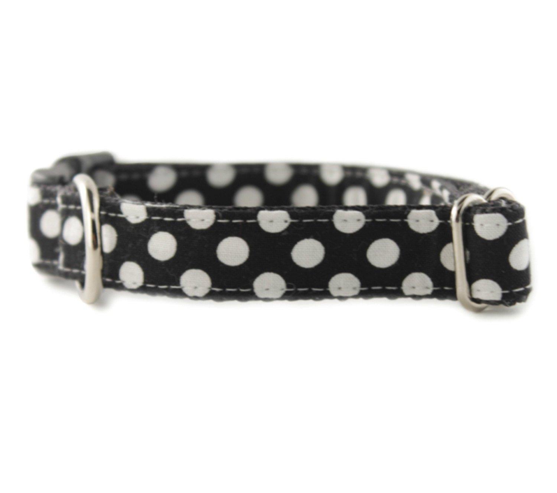 boy dog collar Ebony Dot Dog Collar Black White Polka Dot Dog Collar girl dog collar FREE SHIPPING Black Dog Collar