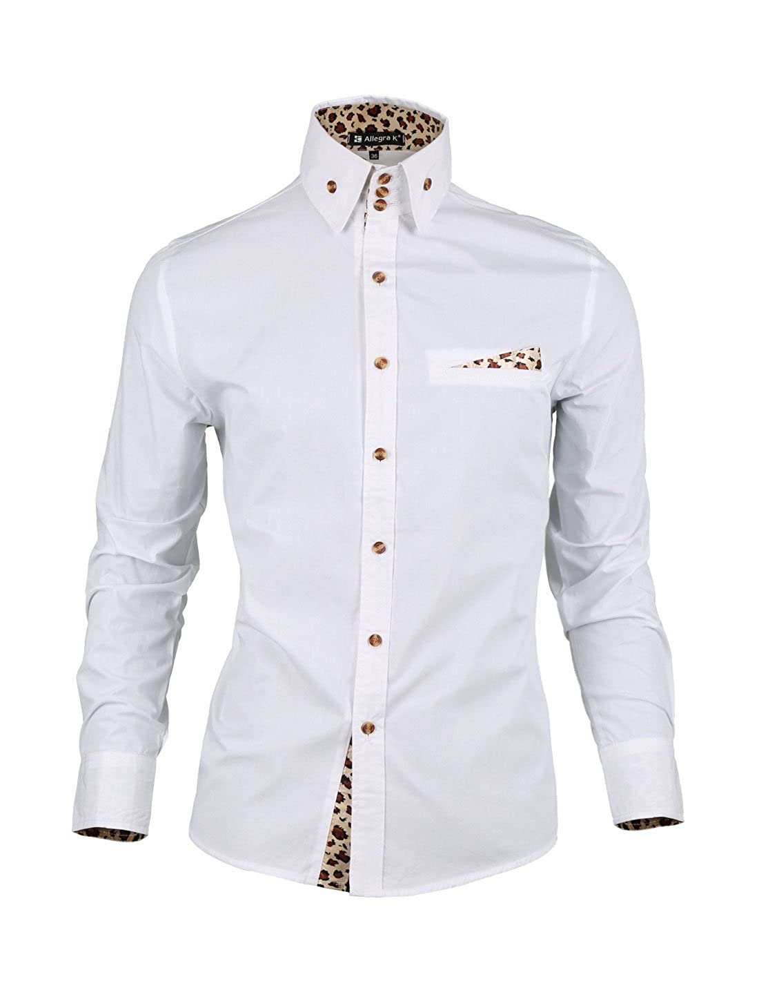 0ab05c9df165 Allegra K Men Leopard Prints Decor Mock Pocket Long Sleeves Button Down  Shirt at Amazon Men's Clothing store: Button Down Shirts