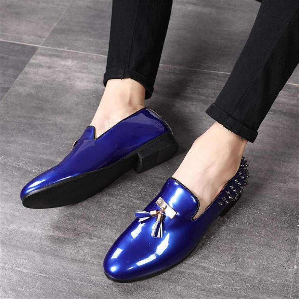 Men Party Dress Shoes Breathable Wedding Casual Shoes Patent Leather Male Flats Rivets Tassel Shoe