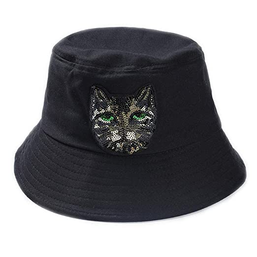 d15f0359b56 Amazon.com  Autumn Winter Hat Cotton Sequins Cat Warm Bowler Cap Bucket Hats  Casual Sunhat for Men Women (Black)  Clothing