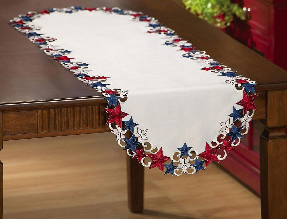 Amazon.com: Collections Etc Americana Stars Patriotic Table Runner: Home U0026  Kitchen