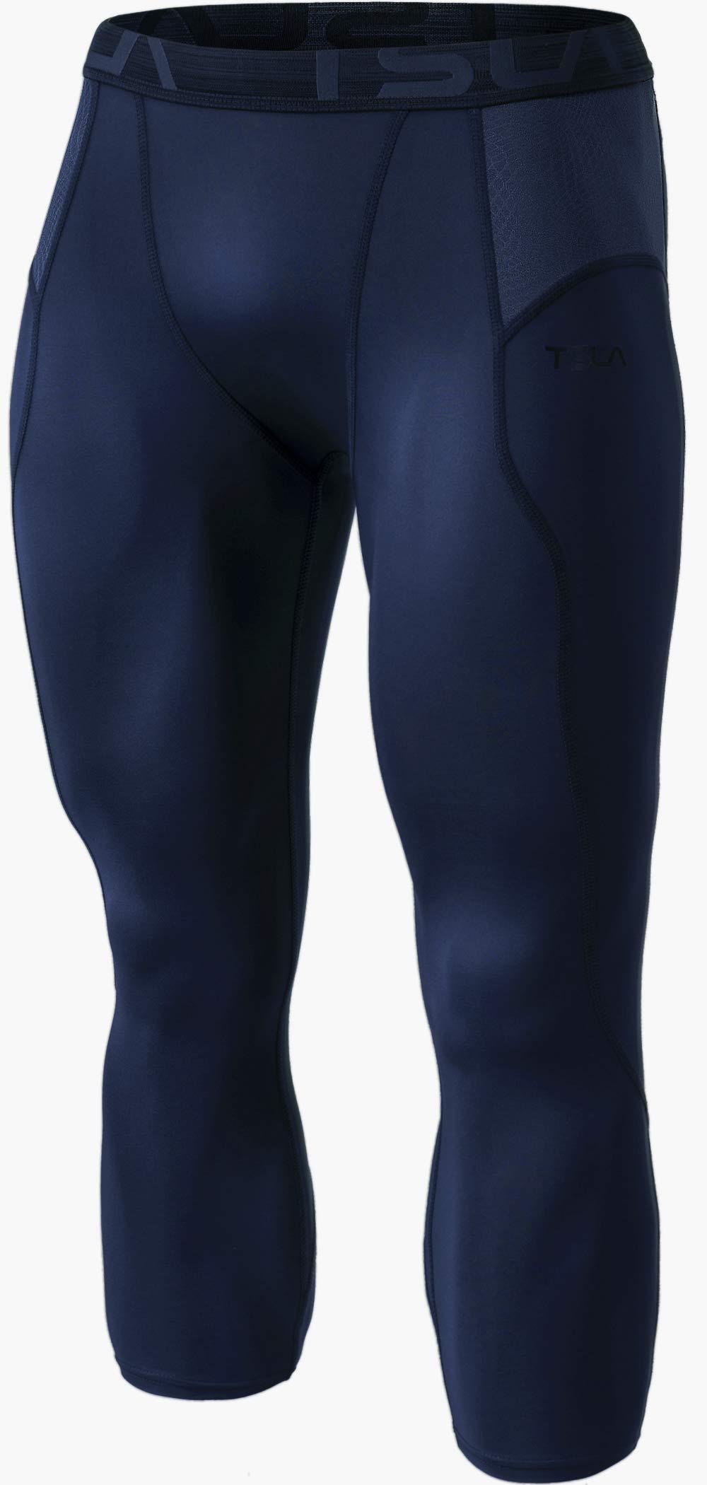 TSLA Men's Compression 3/4 Capri Pants Baselayer Cool Dry Sports Running Yoga Tights, Print(muc28) - Navy, Small by TSLA