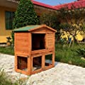 ALEKO® 40x22x40 Wooden Pet House Poultry Hutch, Rabbits Chickens Hen Coop Wooden Cage Roof Access