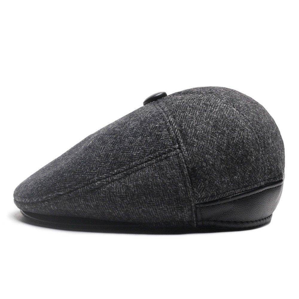 Flat Cap Men Women Unisex Ear Flap Neck Protection Autumn Winter Warm Hat, Black doublebulls DH1493