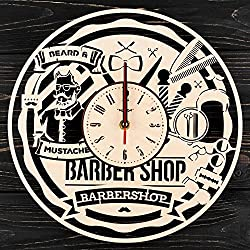 7ARTS Wooden Clock Barber Shop – Decorative Wall Clock Made from Eco Wood with Silent Quartz Movement and Autonomous Power Source - Can be Painted, Great Gift Idea