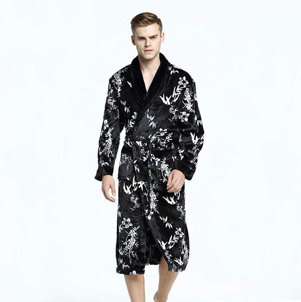 Hombres Bata De Baño Invierno Grueso Franela Largo Bata De Baño Homewear Masculino Ropa De Dormir Salones Pijama,Mapleleaf,XL: Amazon.es: Hogar
