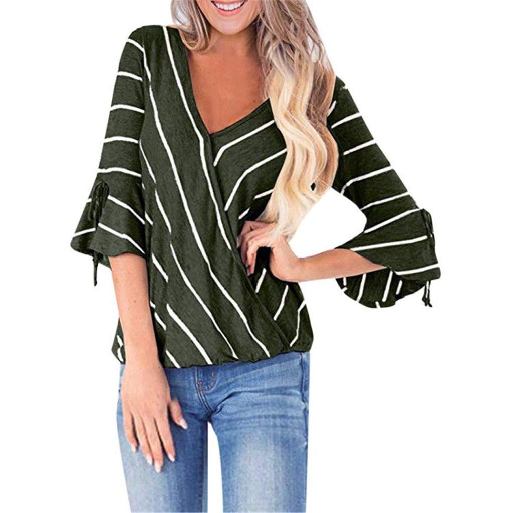 LONGDAY Women Casual T-Shirt Wrap V-Neck Flare Sleeve Shirt Summer Loose Blouse Striped Top Tunic Ladies Pullover Basic Green