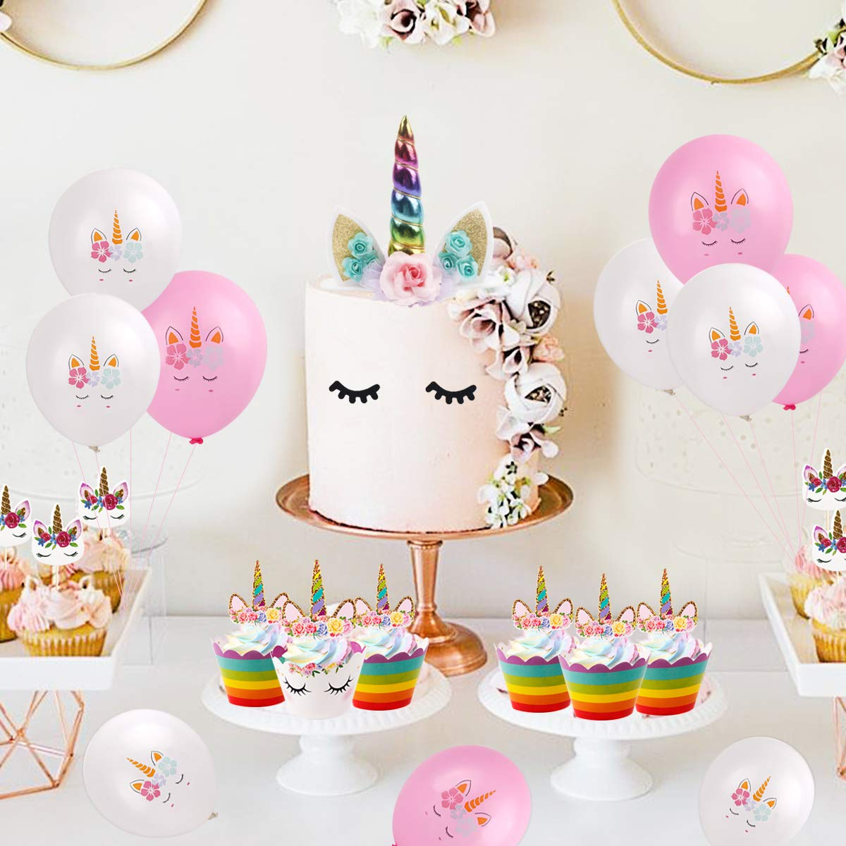 61Pcs Unicorn Cake Topper - Unicorn Horn Party Cake Decoration, Unicorn Cupcake Toppers, Unicorn Cupcake Wrappers, Banner, Unicorn Balloons for Birthday Party, Baby Shower (Unicorn Cake Topper) by QIFU (Image #7)