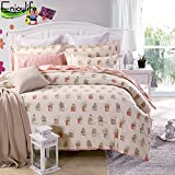#10: Enjoylife 100% Pure Cotton Reversible 3PCS Bedding Set Flowers Design Printing Duvet Cover Super Soft for Kids Teens Adults Pot Plant Full Queen Size