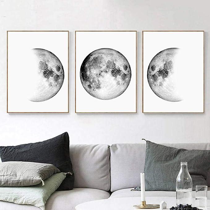 Amazon.com: woplmh - Lienzo minimalista, cuadros de luna ...