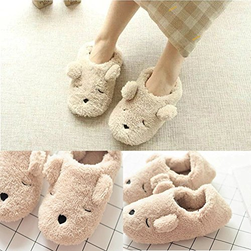 Slippers House bear Slip Warm Mule on Soft Beige Fleece for Slippers Footwear Suede Skid Indoor proof Clog iHomey Winter Couples Autunm BwXRYY