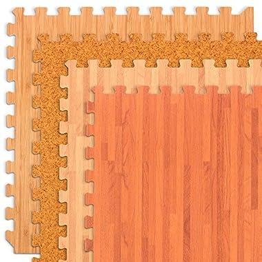 We Sell Mats Forest Floor Grain Interlocking Foam Anti Fatigue Flooring 2'x2' Tiles, Light Bamboo