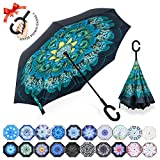 ZOMAKE Double Layer Inverted Umbrella Cars Reverse Umbrella, UV Protection Windproof Large Straight Umbrella for Car Rain Outdoor With C-Shaped Handle Review