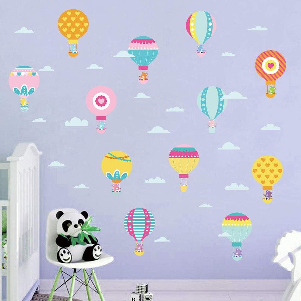 decalmile Stickers Muraux Montgolfi/ère Animaux Autocollant D/écoratifs Ours Nuage D/écoration Murale Chambre Enfant B/éb/é Fille Garderie Salon