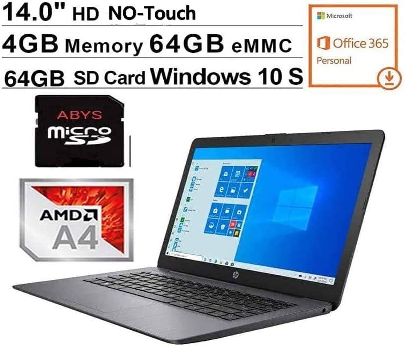"Newest HP Stream 14"" HD WLED-Backlit Laptop, AMD A4-9120e, 4GB DDR4, 64GB eMMC, Webcam, Bluetooth, USB 3.1, HDMI, Windows 10 S, 1 Year Office 365 Personal Included, Black + 64GB MicroSD Card Bundle"