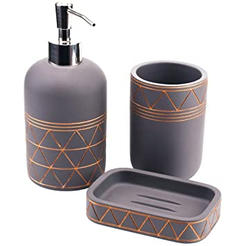 Babylon Concrete Bathroom Accessory Set 3 Pieces Soap Dispenser, Beaker,  Soap Dish, Satu