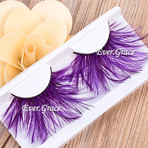 ICYCHEERMakeup Purple Faux Feather Eye Lashes Soft Eyelash Party Halloween Long Cosmetic