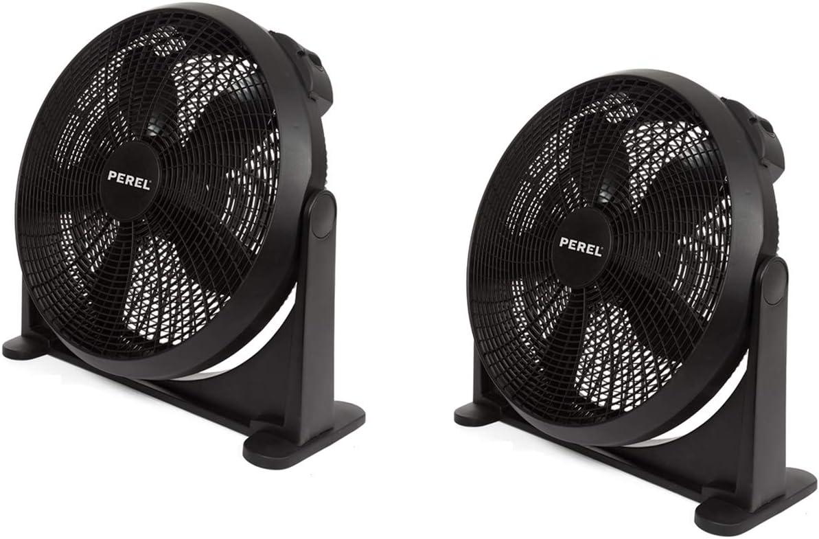 Práctico ventilador con mando a distancia y temporizador, juego de 2 unidades, se puede utilizar como ventilador de mesa o de pared, 3 niveles de potencia, 30 cm de diámetro, color negro