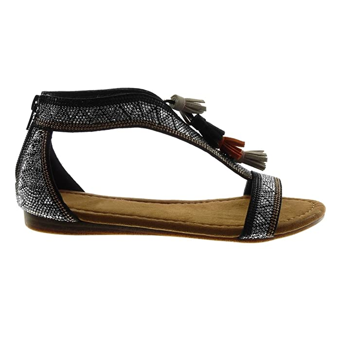 Angkorly Damen Schuhe Sandalen - Folk - T-Spange - Strass - Bommel - Fransen Keilabsatz 1.5 cm - Schwarz A3-3 T 39 rksavQf